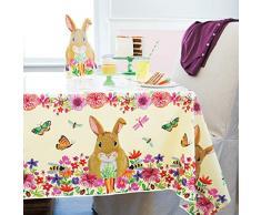 Unique Party - Mantel de Plástico - 2,13 m x 1,37 m - Diseño Floral del Conejito de Pascua (72633)