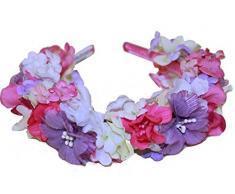 El celibato 97299041.016 - diadema con flores de colores artificiales flores improvisada