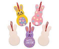 Baker Ross Adornos de cerámica con forma de conejito (Paquete de 5) Manualidades de Pascua para niños