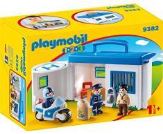 Playmobil- 1.2.3 Comisaría Policía Maletín Juguete, Multicolor (geobra Brandstätter 9382)