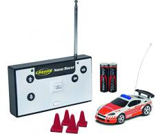 Carson 500404180 Nano Racer - Coche teledirigido (27 MHz, 100 % RTR, Incluye Vitrina de Almacenamiento), Color Naranja