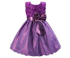 Katara - Vestido de noche para Niña con flores y con arco, color Púrpura, talla 110/116 (tamaño fabricante 120)
