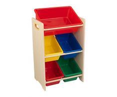 KidKraft 15472 Estantería infantil Sort It and Store It con 5 contenedores para almacenaje, muebles para salas de juego y dormitorio de niños - Primario y natural