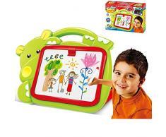BAKAJI 8050534663297 - Pizarra magnética para niños, diseño de hipopótamo, 2 en 1, Zona de Dibujo con tizas y rotuladores, Color Verde