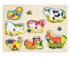 Woodyland Puzzle m. Tiradores DE Ruido Sonido Steckpuzzle Animales DE Madera Juguetes de Madera