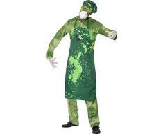 Biohazard Hombre traje Smiffy con pantalones, top, delantal, gorro, mascarilla y guantes - verde, grande