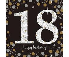 Amscan 9900556 33 cm Servilletas de celebración de 18º cumpleaños