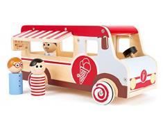 Small Foot Company-11457 Camión de Helados Grande de Madera, con Figuras de Juego, Elementos de Aletas y Ruedas, diseño de Hielo Juguetes, Multicolor (11457)