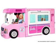 Barbie Caravana para acampar 3 en 1 de Barbie con piscina, camioneta, barca y 50 accesorios, regalo para niñas y niños 3-9 años (Mattel GHL93) , color/modelo surtido