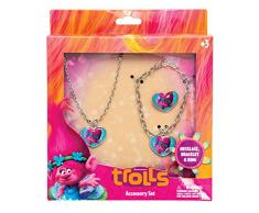 Joy Toy 65176 Trolls - Juego de Pulsera/Collar y Anillos de Metal en Caja de Regalo