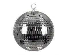 Bola de Discoteca Boland 00703, Plata, diámetro Aprox. 20 cm, Disco Fever, años 70, decoración Colgante, Bola de Purpurina, Fiesta temática, Carnaval.