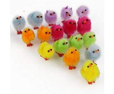 Shatchi - 12 mini pollitos de Pascua multicolor de peluche y esponjoso para cacería de huevos, para niños, decoración de capó, accesorios de manualidades
