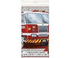 Plástico Fire Engine Mantel de cumpleaños, 7 ft x 4.5 ft