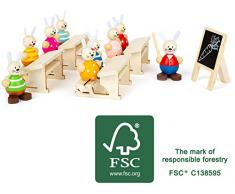 small foot company Set escula de conejitos, Hecho de Madera FSC 100% certificada, Juego de rol de Conejo de Pascua. Juguetes 11315