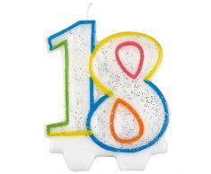 Vela para cumpleaños número 18 Amscan 9900808, de 7,5 cm