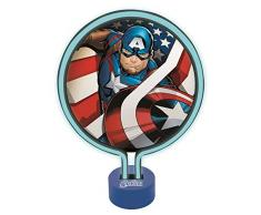 LEXIBOOK Vengadores-Lámpara de Neón, luz Nocturna para los niños Fans de los súper héroes de Marvel, Color Azul LTP100AV