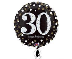 Happy Birthday número 30 globos de fiesta negro blanco oro plata holográfico alrededor de 45 cm , color/modelo surtido