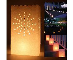 SHATCHI 11621-CANDLE-BAG-SUN-10PK - 10 unidades de velas de papel luminoso para bodas, jardín, aniversario, cumpleaños, decoración nocturna, fiesta de noche, color blanco