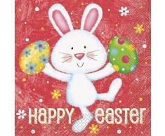 Happy Servilletas de papel de conejo de Pascua, 16 unidades)