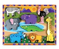 Melissa & Doug 13722 - Rompecabezas grande de madera - animales de safari , Modelos/colores Surtidos, 1 Unidad