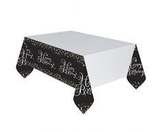 Amscan 9900549: Mantel para mesa de plástico de 1,37 m x 2 m para celebración de cumpleaños, color oro