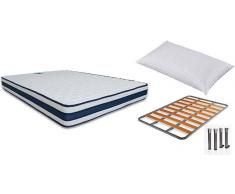 Viscozhen Pack Ahorro Colchón Viscoelástica con Gel + Somier de láminas Chopo + Almohada de Fibras