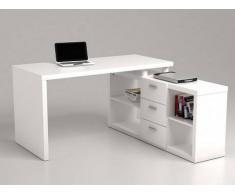 Escritorio rinconero con espacios de almacenaje ALDRIC III - Blanco