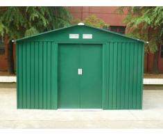 Caseta de jardín de acero galvanizado verde MAXITA II - 9.3m²