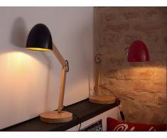 Beliani Lámpara De Mesa - Iluminación De Noche - Madera Y Aluminio - Rojo - Veleka (51836)