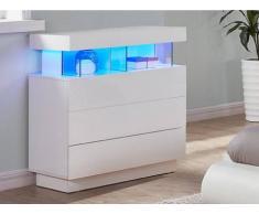 Blanco Cómoda FABIO - MDF lacado blanco Luces led - 3 cajones