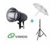 Kit Flash de Estudio Visico VL-400 Plus + Soporte + Paraguas Traslúcido Nikon D300s