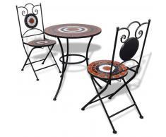 VidaXL Set mesa mosaico 60 cm y 2 sillas, color terracota blanco