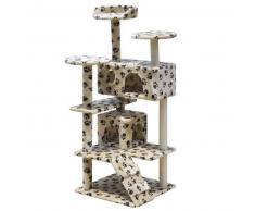 VidaXL Rascador para gatos 130 cm 2 casas beige con diseño de huellas