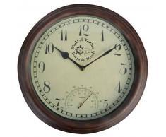 Esschert Design Reloj de estación con termómetro 30,5 cm TF007
