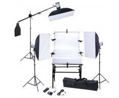 VidaXL Kit De Estudio: Mesa 3 Cajas Luz Cabezas de flash Trípodes
