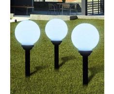 VidaXL Lámpara solar de jardín en forma bola con LED, 20 cm, 3 unidades
