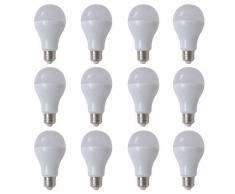 VidaXL Bombilla LED, E27, 12 unidades , blanco cálido, 7 W