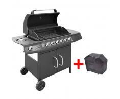 VidaXL Barbacoa grill de gas 6+1 quemadores negra