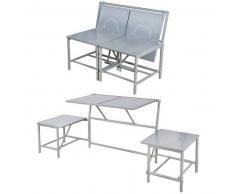 Esschert Design Banco de jardín gris convertible, BL053