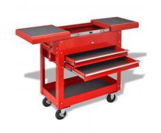 VidaXL Carrito-caja de herramientas 2 cajones acero rojo