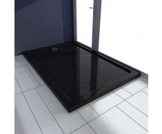 VidaXL Plato de ducha rectangular ABS, color negro, 80 x 120 cm