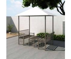 VidaXL Pabellón De Jardín Con Mesa Y Banco 2,5 x 1,5 2,4 M