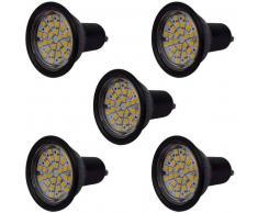 VidaXL Focos LED, set de 5 bombillas, color negro GU10 3W blanco cálido