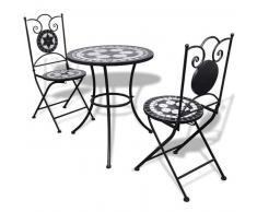 VidaXL Mesa bistro mosaico 60 cm con 2 sillas blanco y negro