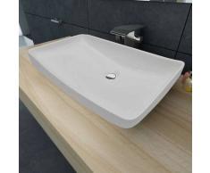 vidaxl lavabo cermico lujoso en forma rectangular blanco x cm