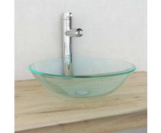 VidaXL Lavabo vidrio templado 42 cm transparente