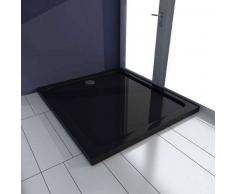VidaXL Plato de ducha rectangular ABS, color negro, 80 x 90 cm