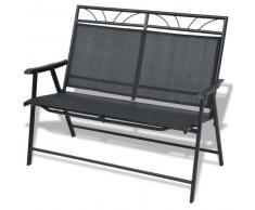 VidaXL Banco de jardín plegable textilene y acero negro