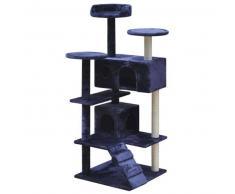 VidaXL Rascador para gatos 130 cm 2 casas azul oscuro