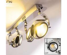 BOROA Lámpara de Techo LED Cromo, 4 luces - 1920 Lumen - Moderno - Zona interior - 3200 Kelvin - 2 - 4 días laborables .